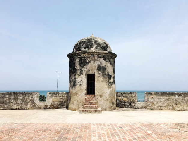 Tower in the historic center of cartagena, colombia.