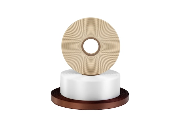 A tower of three coils of silk ribbons for labels or decoration in white dark brown and beige isolated without shadows