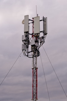 Tower with 5g and 4g cellular network antenna
