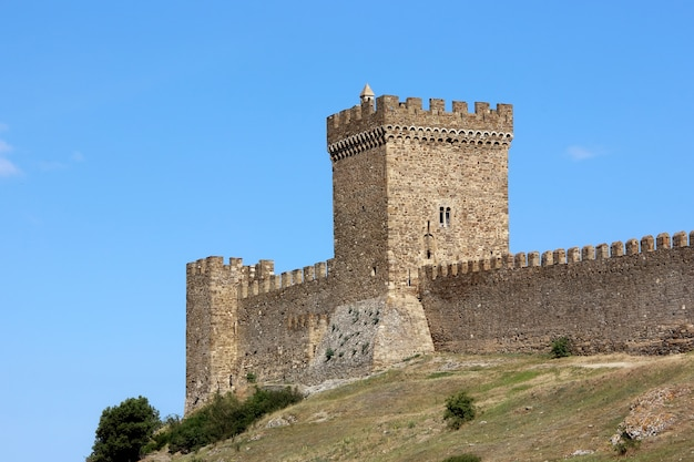Tower with battlements in the genoese fortress