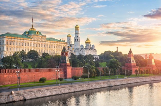 Towers and temples of the moscow kremlin, the kremlin embankment and the water of the moscow river
