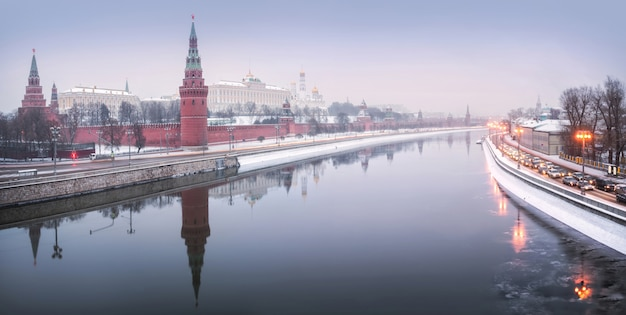 Towers and temples of the moscow kremlin under winter snow