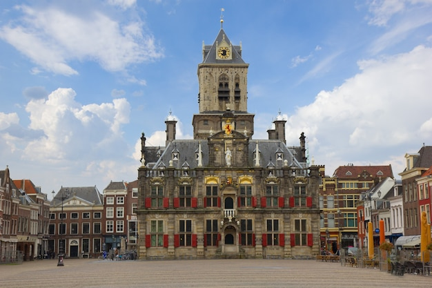 Town hall and market square, delft, holland