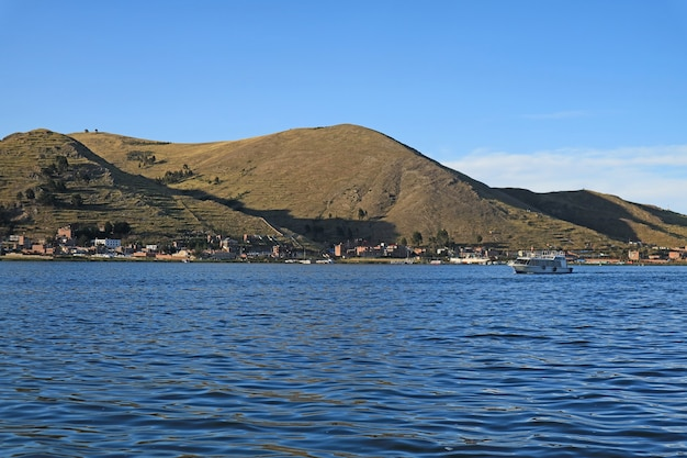 The town of puno view from the cruise boat of lake titicaca