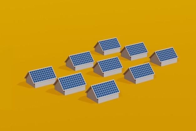 屋根、ソーラーセルのクリーンな電気エネルギー、3 dイラストレーション上の太陽電池パネルのタウンハウス。