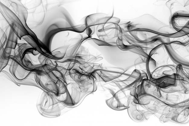 Toxic of black amoke abstract on white background. fire