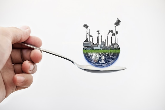 Toxic food and contamination foods from pollution concept. element of this image are furnished by nasa