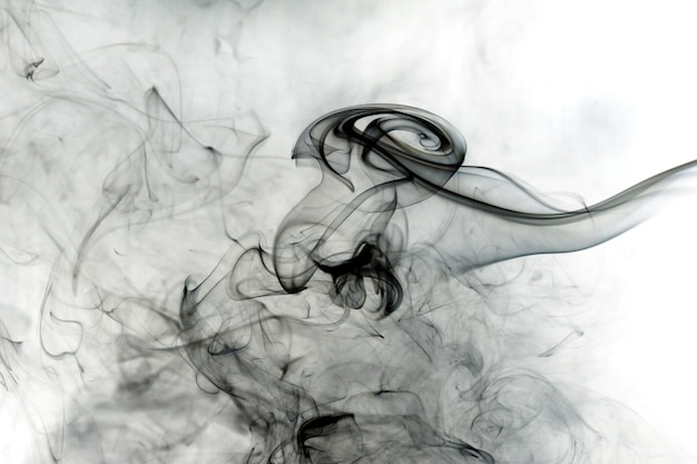 Toxic fumes movement on white background.