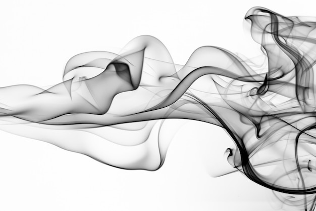 Toxic smoke movement on white isolated. black ink water