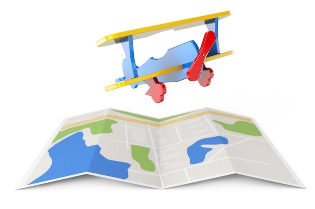 흰색 바탕에 도시 지도 위에 장난감 비행기. 3d 렌더링