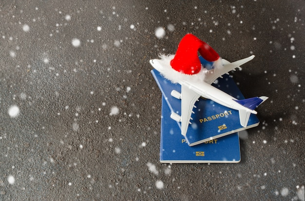 Toy airplane with passports and santa claus hat.