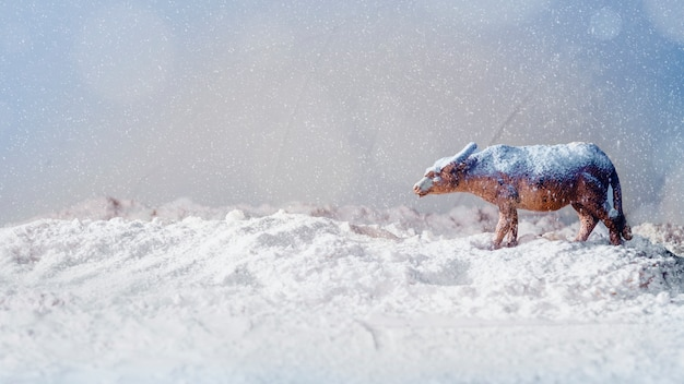 Toy animal on bank of snow and snowflakes