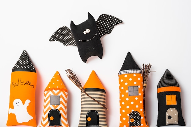 Toy bat over handmade castle towers