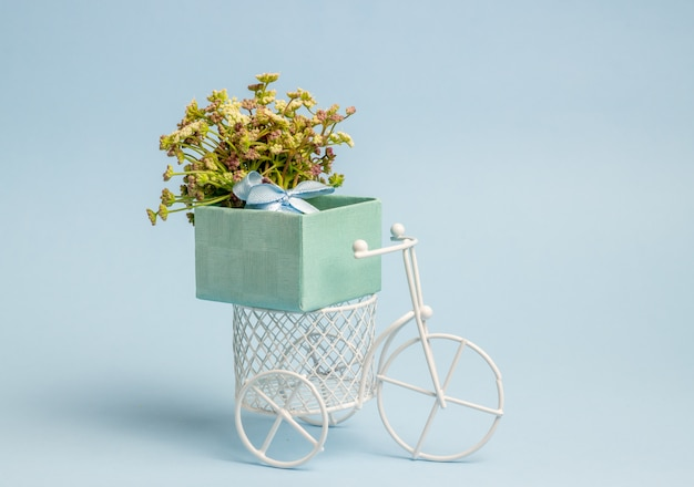 A toy bike carries a flowers. the idea for a postcard. blue  . minimalism.
