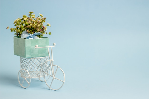 A toy bike carries a flowers. t