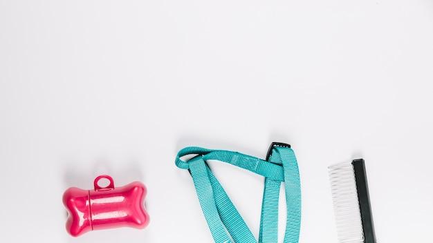 Osso del giocattolo vicino al guinzaglio e al rastrello