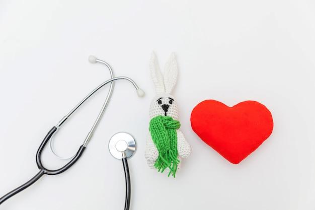 장난감 토끼 레드 심장 및 의학 장비 청진 기