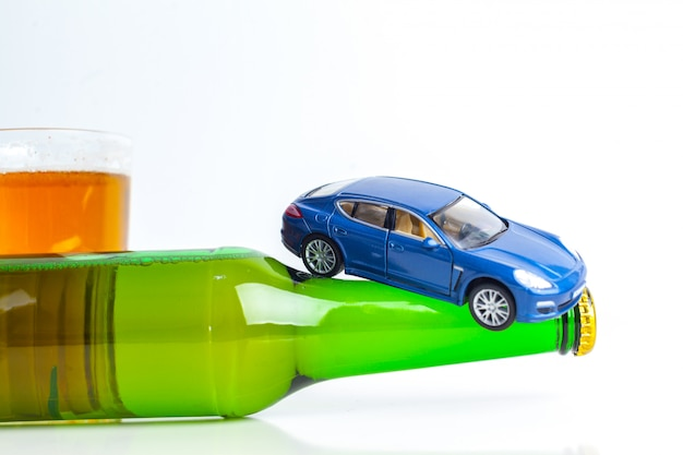 Toy car on bottle
