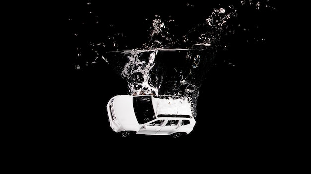 Toy car submerged