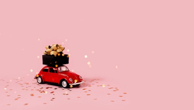 Toy car with present and christmas decorations.