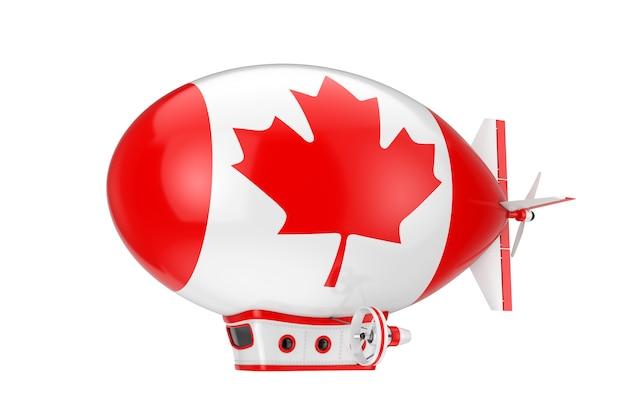 Игрушка мультфильм дирижабль дирижабль воздушный шар с флагом канады на белом фоне. 3d рендеринг