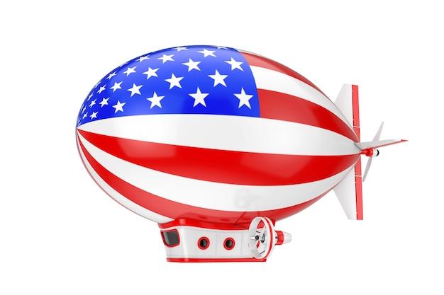 Игрушка мультфильм дирижабль дирижабль воздушный шар с флагом сша на белом фоне. 3d рендеринг