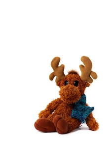 Toy deer on white isolated