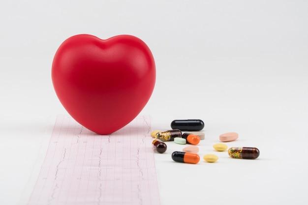 錠剤と心電図のおもちゃの心。コンセプトヘルスケア。心臓病学-心臓のケア