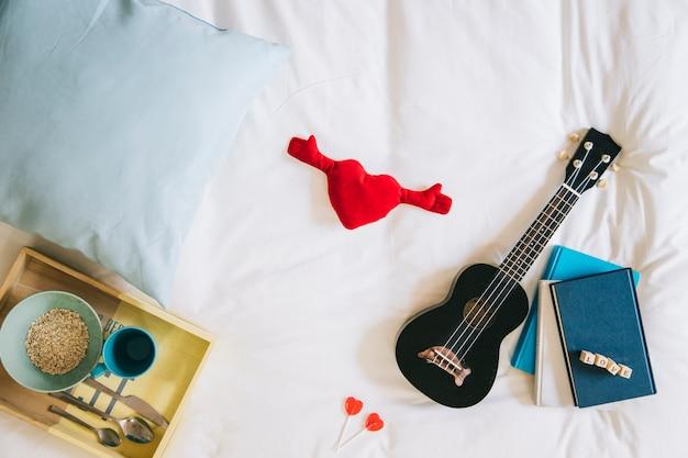 Toy heart and ukulele