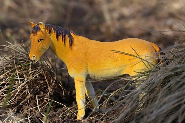 Игрушечная лошадь на природе среди сухой травы