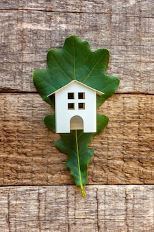 Toy house and green oak leaf on wooden table