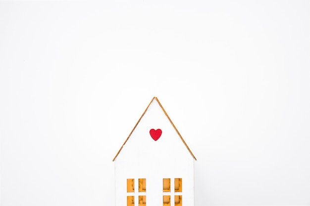 Toy house with small heart