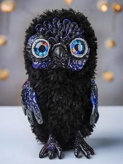 Игрушка сова - вселенная из полимерной глины, сделанная из полимерной глины и плюша в смешанной технике,