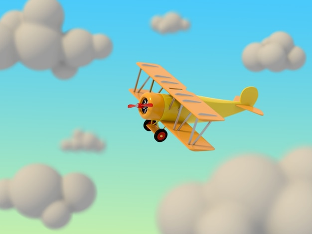 Toy plane flies among the cartoon clouds against the sky. bright children's illustration. 3d rendering.