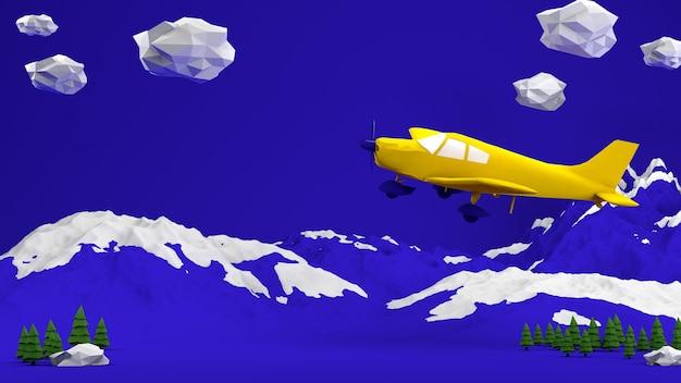 장난감 비행기는 하늘을 배경으로 만화 구름 사이에서 날아간다.