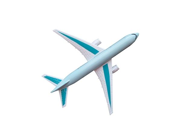 Игрушечный самолет белый с синими крыльями, изолированные на белом фоне