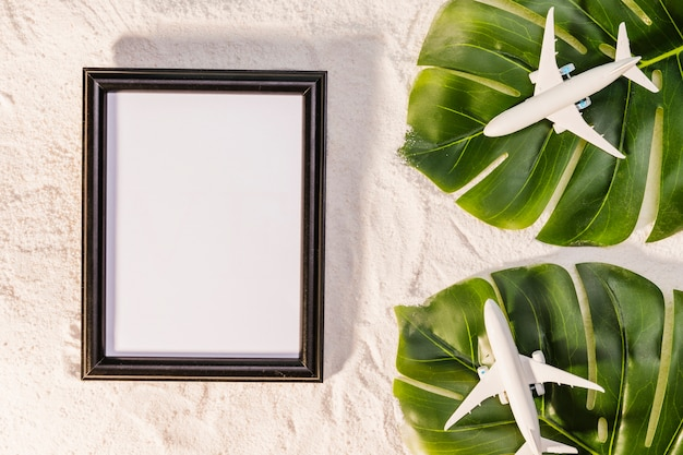 Toy planes on monstera leaves and frame