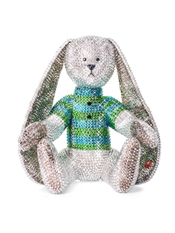 Игрушка кролик из страз и кристаллов на белом фоне