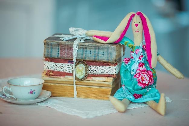 Il coniglio del giocattolo si siede davanti a un mucchio di vecchi libri
