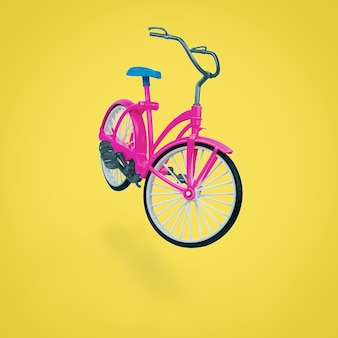 Toy red bike with a blue saddle on a yellow surface