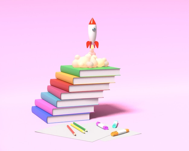 Toy rocket takes off from the books spewing smoke on a pink background. symbol of desire for education and knowledge. school illustration. 3d rendering.