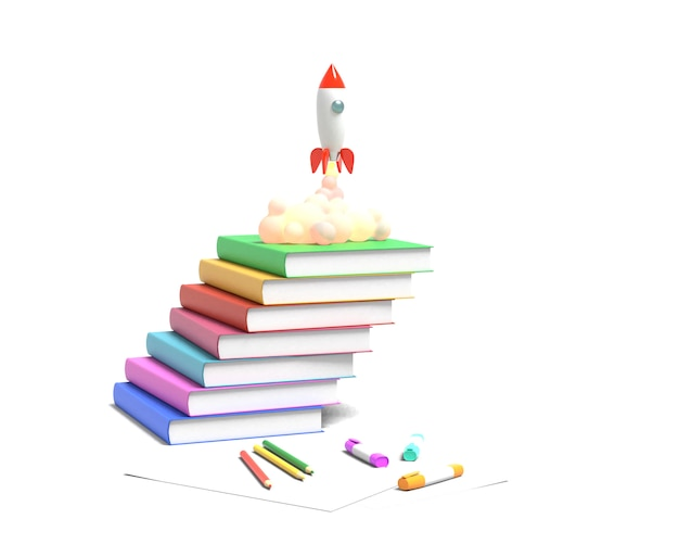 Toy rocket takes off from the books spewing smoke. school illustration. 3d rendering.
