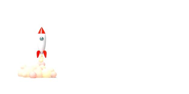 Игрушечная ракета взлетает из книг, извергая дым на белом фоне