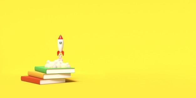 Игрушечная ракета взлетает с книг