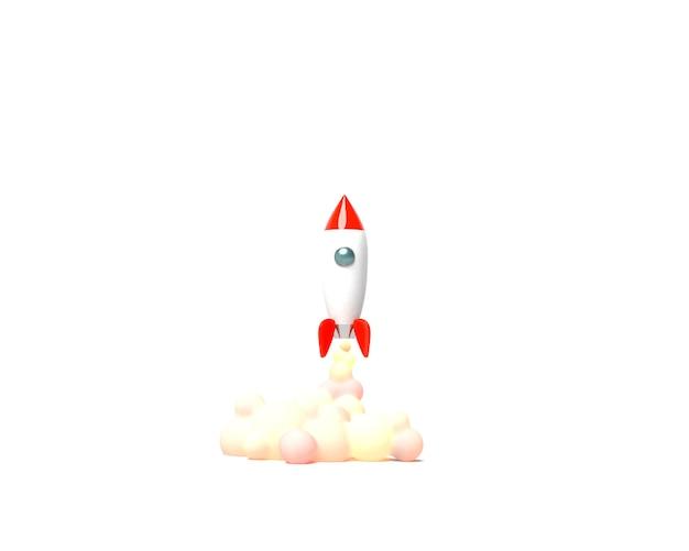 おもちゃのロケットが白い背景の3 dレンダリングに煙を吐き出す