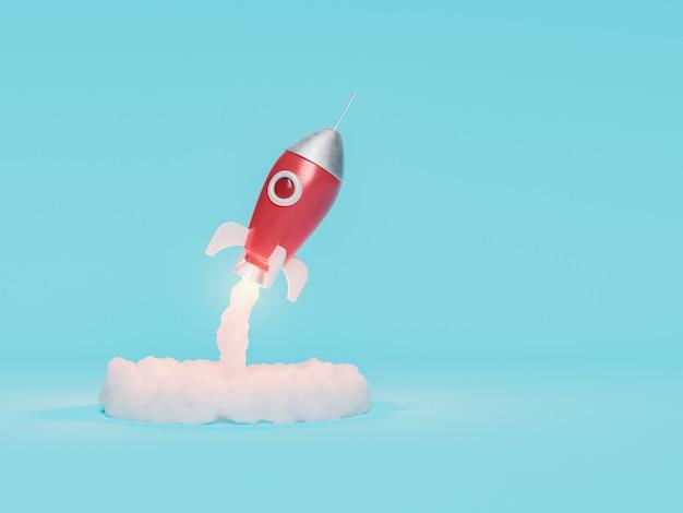 Взлет игрушечной ракеты