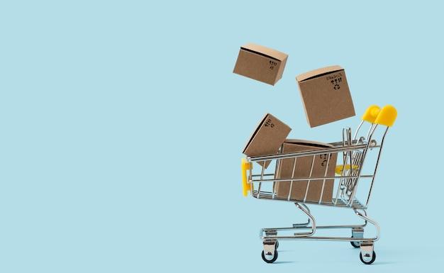 空中に箱が付いているおもちゃのショッピングカート