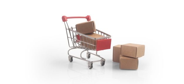 Toy shopping cart with boxes shopping and delivery concept. consumer society trend