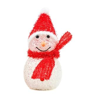 Снеговик игрушки на белой предпосылке. рождественские праздничные игрушки.