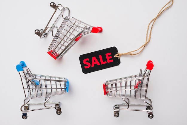 Toy supermarket carts with sale label